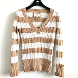 3/$20 🍁American Eagle Camel White Stripe  Sweater